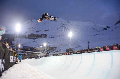 Jack Mitrani laying out in the Men's SuperPipe final at Winter X Games Europe.