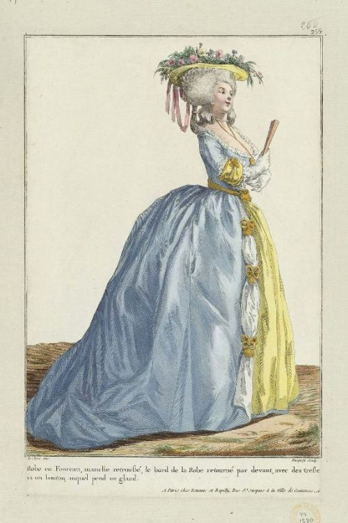 "Gallerie des Modes, 1784.  ""Robe in foreau…"" Gorgeous!  Blue and yellow aren't together enough."