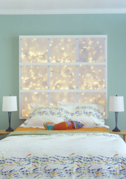 homemadecrap:  DIY Lighted Headboard  via diyideas.com