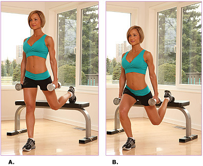 blogilates:  Move of the Day: Bulgarian Split Squat The split squat is used to strengthen the hips, quadriceps, glutes and ankles. Hold a pair of dumbbells at each side of your torso. Place your left foot on an exercise bench or chair and stagger the right leg in front of the torso. With your hands on your waist, bend your right knee so that your thigh is parallel to the ground. Do not let the knee go past your toes. Keep the weight in your right heel, and keep your torso lifted during the descent and ascent of this exercise. Repeat this exercise on the other leg. Do 20 reps on each side.