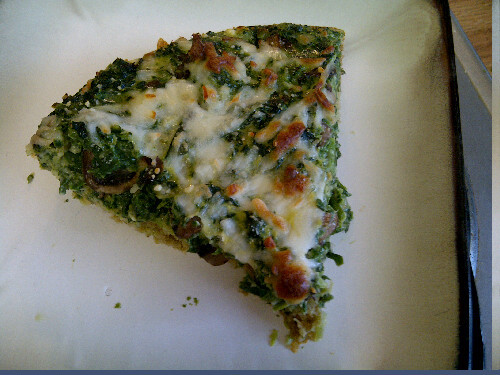 Mushroom & Spinach Quiche in an Oat Crust This recipe came from an old Cooking Light, but I made some changes. It was zone originally, but I felt like there was too much crust, so I cut that by 1/3. And added feta. Have some berries with it to up your carbs by just a bit I made it last night and stored the filling separately. When I woke up I poured it in the crust and breakfast was ready 30min later! Crust: 2/3 c regular oats 2 tbl oat bran 1.5 tbl butter 2 tbl cold water Cut butter into oats and bran until blended. Add water and press into pie pan sprayed with cooking spray. Bake for 7 min at 375 Filling: 1 cup chopped leek 1 1/4 cup sliced mushrooms 1 cup fat free evaporated milk 1/4 c grated parm cheese 1/2 tea salt 1/4 tea each- dried dill, thyme, pepper 4 large egg whites 2 large eggs 1 (10oz) package frozen chopped spinach Sautee leek and mushrooms 7-10 minutes until soft and cooked through Mix remaining ingredients, pour on top of crust Top with 1/4 cup feta cheese. Bake at 375 for 25 min or until set