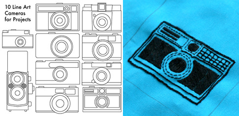 Line Art Cameras for embroidery, paper collage, felt, printing, screen printing, and more! From howdidyoumakethis.com