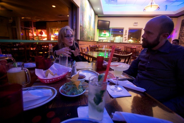 Susie Poobah with the always interesting Peter McDowell at Lazo's Tacos (Western & Armitage) — home of the best Guacamole in Chicago (Photo: Ari Salomon)