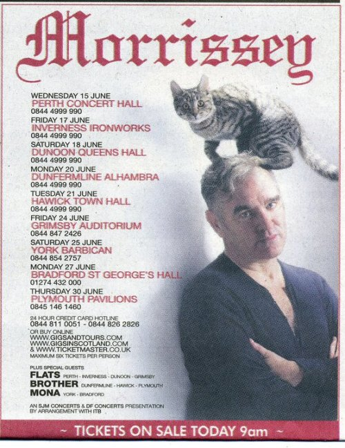 I will be at 3 of the Scotland dates!!! mozporn:  Morrissey tour 2011.