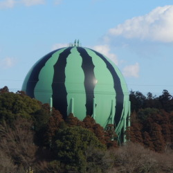 Watermelon decorated gas tank : Tomisato, Chiba