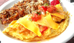 Mexican Omelette with Hash Browns.