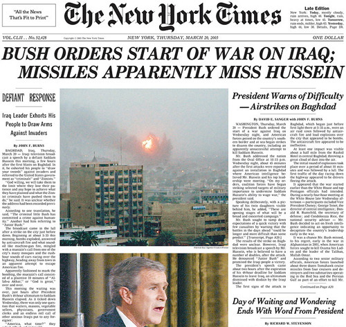 langer:  Exactly eight years ago today another war was started.