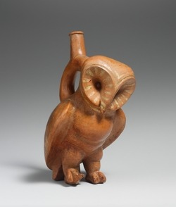 Owl Bottle, Moche Culture, Peru. http://www.metmuseum.org/toah/hd/moch/hd_moch.htm So I'm pretty obsessed right now with the art of South America's Pre-Columbian people, and especially the Moche. Expect to see a lot of that.