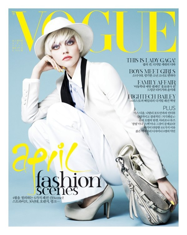 Sasha Pivovarova photographed by Nino Muoz for Vogue Korea's April 2011 cover.