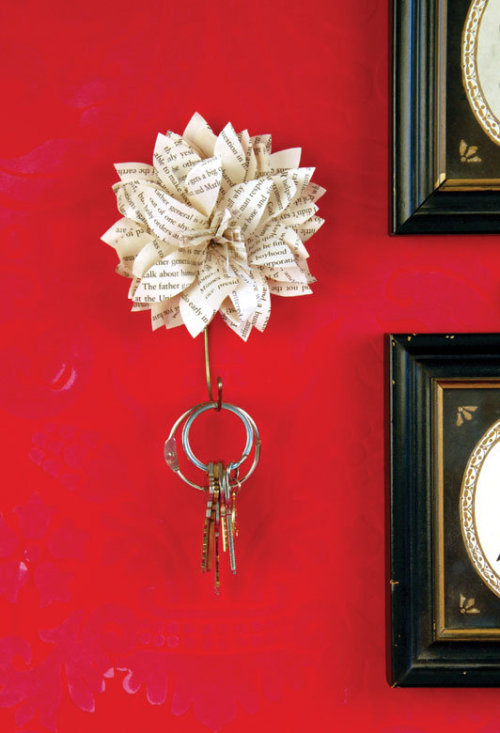 I will be making these amazing Paper Flower Key Holder soon! I need something to hand our keys on, and when I saw this I knew I had to try to make it! The DIY looks pretty simple…now if only I had such an awesome red wall to hang them on.