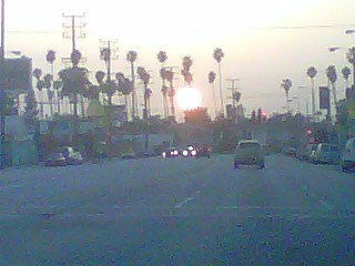"Sunset as I was stopped on Venice the other day… I ""heart"" LA"