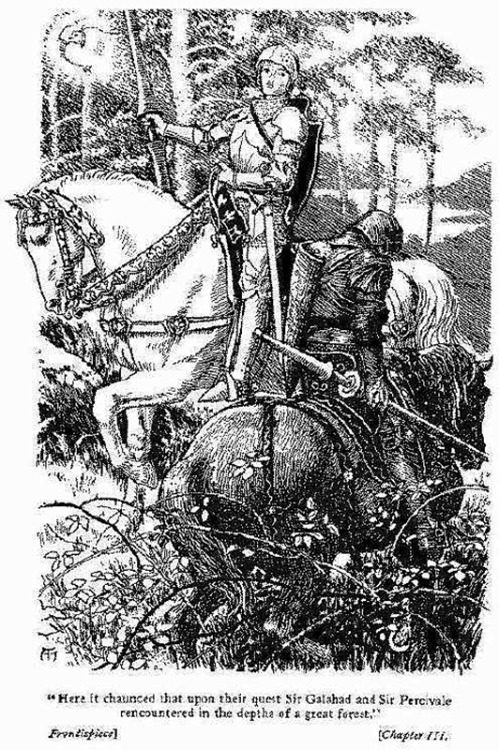 "Frontispiece: ""Here it chaunced that upon their quest Sir Galahad and Sir Percivale recountered in the depths of a great forest."" (Ch. 3)"