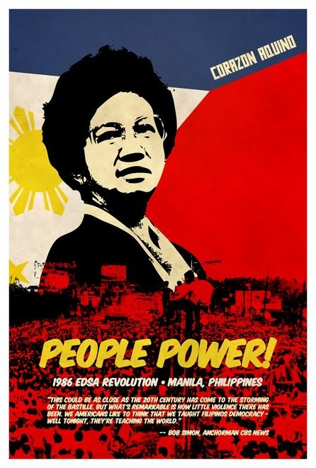 awesomestuffwomendid:  Led the People Power Revolution of the Philippines, calling for massive civil disobedience protests (including four days of the military-civilian rebellion where millions crammed the streets to protect reformist soldiers who had mutinied against Marcos and nuns armed only with rosaries knelt in front of tanks, stopping them in their tracks) eventually leading to the ousting of Ferdinand Marcos and her declaration as President.  Oversaw the promulgation of a new constitution, which limited the powers of the presidency and established a bicameral legislature.  Gave strong emphasis and concern for civil liberties and human rights, and peace talks with communist insurgents and Muslim secessionists. Her economic policies centered on bringing back economic health and confidence and focused on creating a market-oriented and socially-responsible economy.  Survived several coup attempts, and even after her presidency served as a unifying force during troubled times.  (Corazon Aquino)