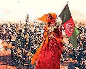 "awesomestuffwomendid:  A national folk hero of Afghanistan who rallied the Pashtun army against the British troops at the 1880 Battle of Maiwand. Like many Afghan women, she was there to help tend to the wounded and provide water and spare weapons. According to local sources, this was also supposed to be her wedding day.  When the Afghan army was losing morale, despite their superior numbers, She took off her veil and shouted:  ""Young love! If you do not fall in the battle of Maiwand, By God, someone is saving you as a symbol of shame!""  This inspired the Afghan fighters to redouble their efforts. When a leading flag-bearer was killed, she went forward and held up the flag (some versions say she used her veil as a flag), singing a landai:  ""With a drop of my sweetheart's blood, Shed in defense of the Motherland, Will I put a beauty spot on my forehead, Such as would put to shame the rose in the garden!""  She was then struck down and killed. However, her words had spurred on her countrymen to victory. (Malalai Ana)"