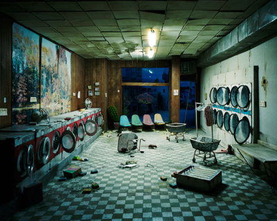 Laundromat at Night, 2008 by Lori Nix (All of Lori Nix's photographs are of miniature scenes that she builds. Love.)