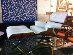 Eames Lounge Chair and Ottoman in Ivory Leather @ SGV Digs Modern