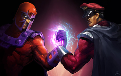The Marvel vs. Capcom 3 super villain Magneto is ready to team up with M. Bison (not in MvC3) thanks to Bryce Homick's epic fan art piece. Epic Handshake by Bryce Homick / zombat (deviantART)