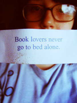 Book lovers never go to bed alone.  via: vi.sualize.us