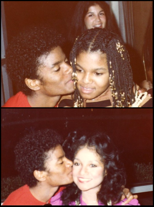 "alchrista:  Kissing LaToya and Janet  ""People probably think he's weird because he's so withdrawn. But that's only because he is overwhelmingly shy, something he's never been able to conquer. He's a very innocent guy.""  LaToya Jackson ""I've studied the best. Michael Jackson, who was just down the hall. I'm not saying that because he's my brother. I really feel he is the best. I saw how hard he works, his ambition. It's so strange to read things about him because people just don't understand Michael much.""  Janet Jackson"