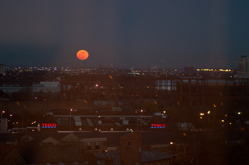 Red (Super) Moon Rising at 18:30 last night from a kitchen window in Bow. If you missed it last night, don't tonight - it should still be full and is scheduled to rise at 19:52