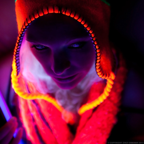 Model: Adelaide Eve McBridePhotographer: Zinzi Graham  UV blacklight test shot in my flat using two small low wattage blacklight strips. Please note: Recently I've received a lot of non-work related questions in my ask box. Apologies but I won't answer them here! You're welcome to ask them on my other blogs though :)