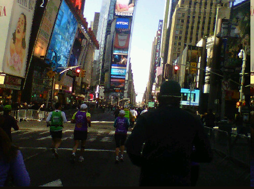 gillianmae:  Times Square, nbd  New York Half Marathon live-blogging from the race!