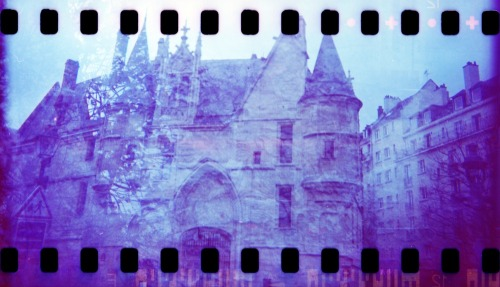 Chateau and Flowers Double Exposure | Shot with a Woca (hacked for 35mm) and Revolog 600nm film