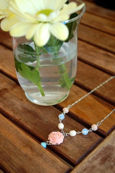 Pink Rose with Seafoam Green Crystal Necklace via Katheyl