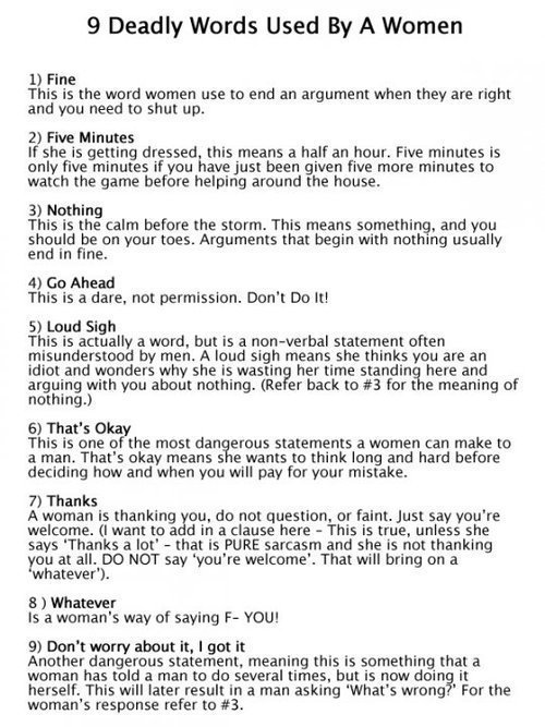 9 Deadly Words used by Women Hahaha, awesome.