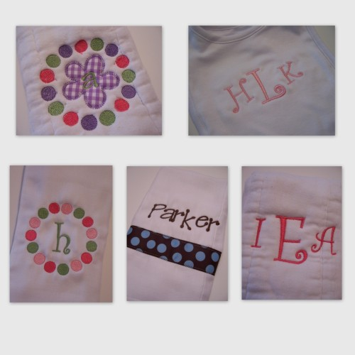 bibs and burp cloths $7 each
