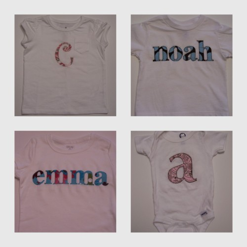 appliqued or monogrammed shirts short sleeved: $12 for one letter; $15 for a name or anything more than one letter long sleeved: $14 or $17