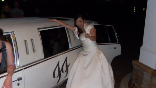 White wedding limo.