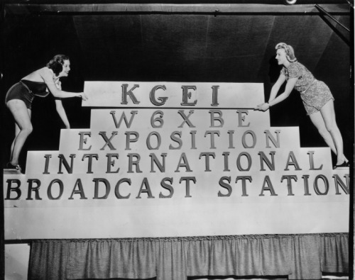 Folies Bergere dancers promote international radio station KGEI 1939