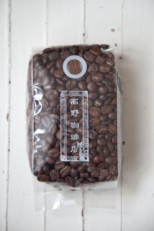 Coffee beans from Takano Coffee.