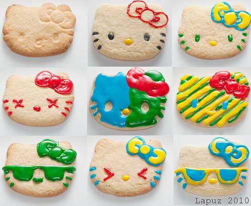Hello Kitty Cookies with colored icing