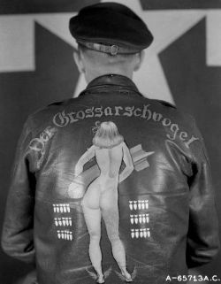 "Der Grossarschvogel is listed as the name of an B-17 with the 401st BG. Translated it means, ""The Big Butt Bird"". The plane also used the name, ""You All Right"".  Some planes had more than one name, they were renamed by new crews or they had a right side and a left side name painted on."