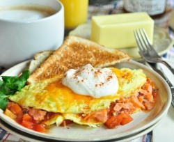 Smoked Salmon Omelette with Sour Cream & Salsa