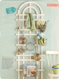 Upcycle a Garden Trellis in your kitchen via Centsational Girl (through Better Homes & Gardens Magazine) Where was this idea when I was living in an apartment?!