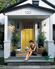 The Stepped Up Stoop | Martha Stewart It always seems like the front of the house is the last part of the house that gets decorated, especially as you only really ever see it once in a while! I think I'm going to have to try and convince my landlord that I really need a yellow front door! Such a simple way to update your house!