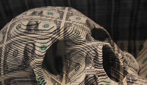 Most expensive skull in the world, made from  $11K worth of dollar bill sheets!