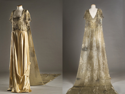 Satin wedding dress, 1916. Perhaps influenced by designer Paul Poiret, this dress relies on draping rather than tailoring for its elegance, with the skirt fabric gathered in asymmetrical panels and puddling on the floor. The bodice is a masterpiece of Orientalism through metallic embroidery, as is the extraordinary train that hooks to the back shoulders. This gown was worn by the donor's mother, Elizabeth Mary Branch Simons Chisolm, at her wedding on January 3, 1916. Note: this week every day is Textile Tuesday in celebration of Charleston Fashion Week! TEXTILE TUESDAYS: Each Tuesday we post a piece from our textile collection.  Some items have been on exhibit, some will eventually be shown in our new Historic Textiles Gallery and some may be just too fragile to display. Occasionally we'll throw in a shameless commerce link, but only if we think it's a good opportunity for you to learn more. We hope you enjoy our selection each week – do let us know if there's something in particular you'd like to see on TEXTILE TUESDAY! #TextileTuesday
