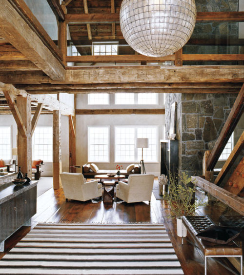 Modern rustic barn Marrying old with a modern aesthetic, a barn that previous owners had bought and deconstructed, has been moved from Canada to Connecticut, and then converted into a residence.  (via Modern rustic barn | 1 Kind Design)