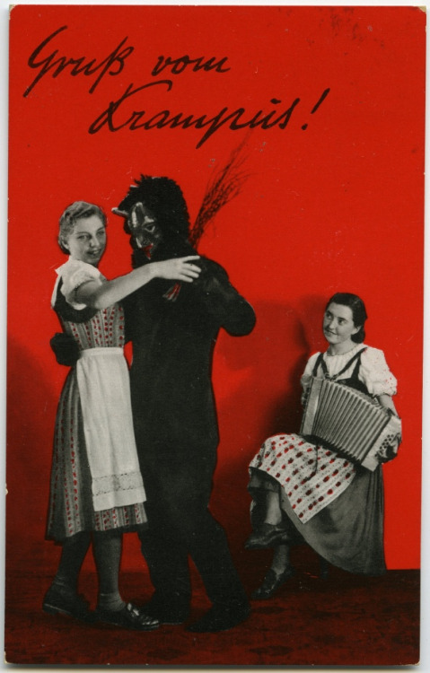 vickyveiled:  Greetings from Krampus   Vintage photo postcard from Germany stamped 1942 on the back. More information on the mythical Alpine creature Krampus can be found here: en.wikipedia.org/wiki/Krampus. (by Crafty Dogma)