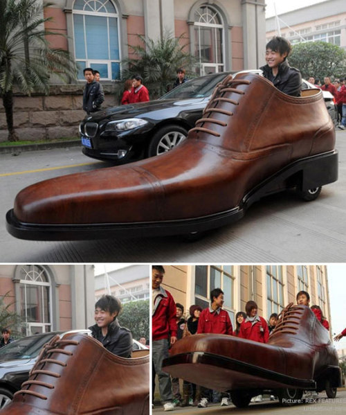 thedailywhat:  Shoe-Shaped Car of the Day: There was a Chinese footwear manufacturer who built an electric car shaped like a giant shoe / he had so much free time on his hands he didn't know what else to do. [orange / bemlegaus.]  !! In addition to this being cool, these are the kinds of shoes I must get before I leave Europe. The search for the perfect (and kinda cheap) oxfords/derbys/whatever is on (actually has been for weeks)! My shoe lust is not doing well here. Luckily whenever I think of how much I have left in my bank account it helps to restrain me, but goddamn I wish I could throw out all my shoes so I would have to buy all new ones here. Everyone's shoes are perfect and they are ridiculous colors and made of suede and have t-straps and high heels. Or they are oxfords.