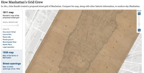 gillianmae:  How Manhattan's Grid Grew - In 1811, John Randel created a proposed street  grid of Manhattan. Compare his map, along with other historic  information, to modern-day Manhattan.  Meant to post this here!