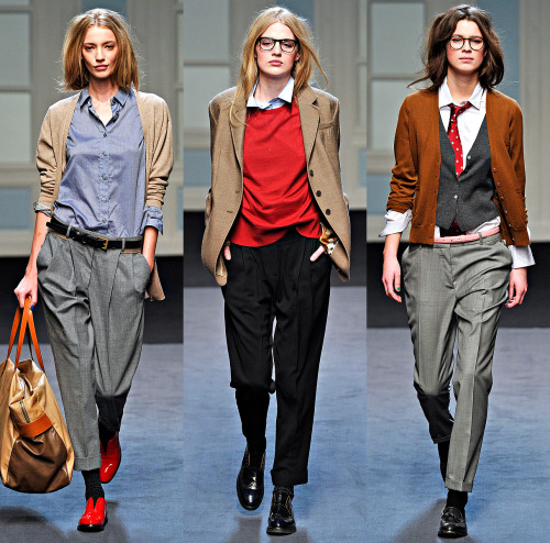 Paul Smith, Fall 2011 Ready-to-Wear photographer: Marcio Madeira (L-R) Milagros Schmoll, Renee Germaine van Seggern, Eden Clark for mostly everything Is there a male equivalent for those red shoes? You know, the double reverse— menswear inspired by womenswear inspired by menswear? Runway - Fall 2011 RTW - Paul Smith - Collections - Vogue