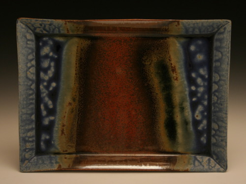 Blaine Avery: Ash glazed handbuild tray with spanish iron red glaze