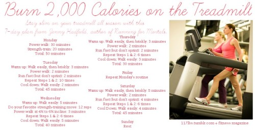 Click to make it bigger! Burn 2,000 calories in 7 days on the treadmill (approx.)