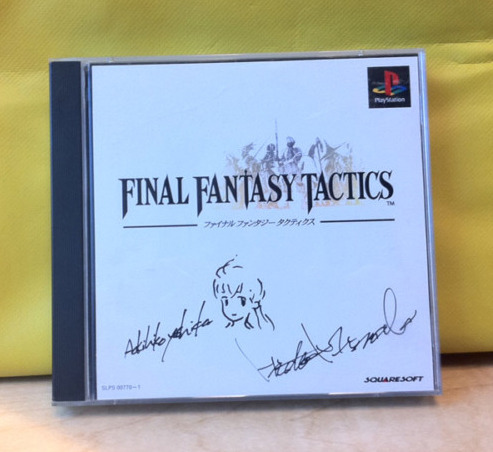 Auction: Final Fantasy Tactics (PS) Signed By Yoshida + MinabaAndrew Vestal has posted an auction for a very rare signed copy of Final Fantasy Tactics autographed by Hideo Minaba and both signed and illustrated by Akihiko Yoshida.You are bidding on a signed copy of Final Fantasy Tactics for the Sony PlayStation. This is the Japanese version of the game. The box has been signed by Akihiko Yoshida, Character Designer and Art Director and Hideo Minaba, Art Director. Final Fantasy Tactics is considered by many to be the greatest game in Square Enix's illustrious history, and Yoshida's serious fantasy style contributes strongly to that reputation. When signing the box, Yoshida drew a sketch of protagonist Ramza as well.The rarity of this item would be hard to overstate – Yoshida and Minaba rarely appear at trade events or sign autographs. This item would truly be the crown jewel of any Final Fantasy Tactics fan's collection.The auction ends March 27 at 16:00:34 PDT. All proceeds will be donated to Global Giving.
