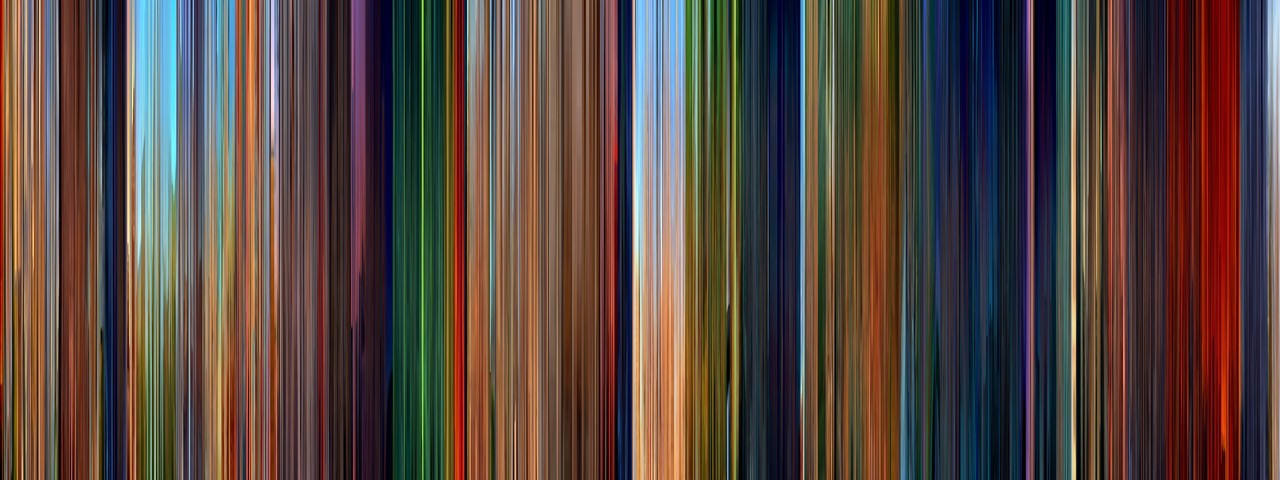 "moviebarcode:  The Lion King (1994)⇒prints  ""Movie Barcode - every frame in a movie compressed into a line, giving an idea of the colour palette used by the filmmakers"""